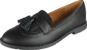 Womens Ladies Black Loafers Brogue Slip On Flats Work Office School Shoes Size