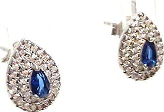 Boreale Joias Brinco Prata 925 Pavê Gota De Zircônias Pedra Azul Joia