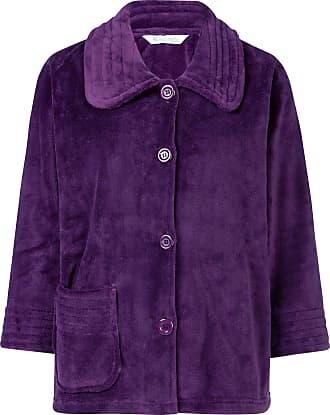 Slenderella Ladies 3/4 Sleeve Medium Soft Plum Purple Fleece Button Up Bed Jacket