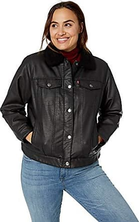 26014306a82 Levi s Womens Plus Size Faux Leather Sherpa Lined Trucker Jacket