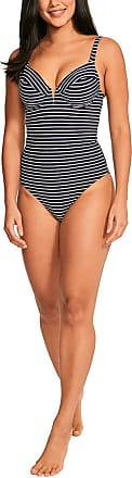 Figleaves Womens Cast Away Underwired Swimsuit Size 36E in Ink/White Stripe