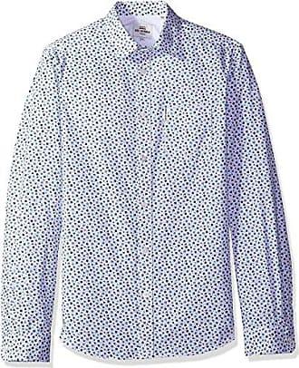 Ben Sherman Mens Longsleeve GEO PRT Shirt, Bright White, XL