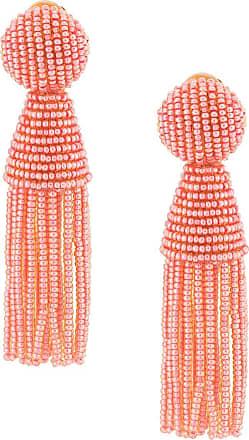 Oscar De La Renta beaded hanging clip earrings - PINK