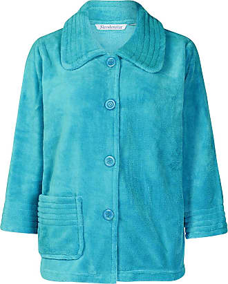 Slenderella Womens Button Up Soft Fleece Bed Jacket Housecoat with Pocket Large (Teal)