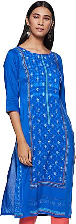 Aurelia Womens Synthetic Straight Kurta (19FEA10591-500263_ Blue_ X-Small)