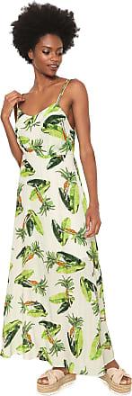 Redley Vestido Redley Longo Estampado Branco/Verde