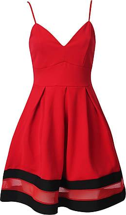 Momo & Ayat Fashions Ladies Cami Skater Dress With Mesh Panel Floral Plain UK Size 8-16 (UK 12 (EUR 40), Red/Black)