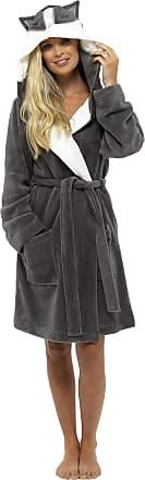 Foxbury Ladies Novelty Cuddle Fleece Animal Hood Gown, XL, Raccoon