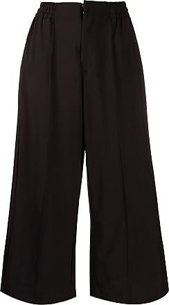 Yohji Yamamoto wide leg cropped trousers - Black