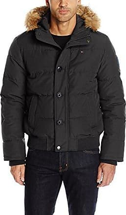 Tommy Hilfiger Mens Insulated Midlength Quilted Puffer Jacket with Fixed Hood Down Coat