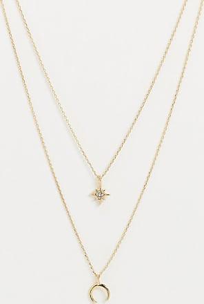 Pieces Collana multifilo con ciondoli a stella e forcella oro