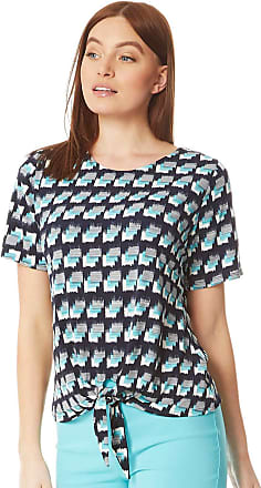 Roman Originals Women Geometric Print Tie Front T-Shirt - Smart Casual Tailored Elegant Short Sleeve Ladies Summer Holiday Workwear Spot Square Blouse - Light Blue -