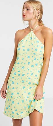 Glamorous Vestito corto allacciato al collo a fiorellini vivaci-Verde