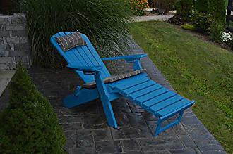 A & L Furniture A & L Furniture 883-BL Blue Folding/Reclining Adirondack Chair with Pullout Ottoman
