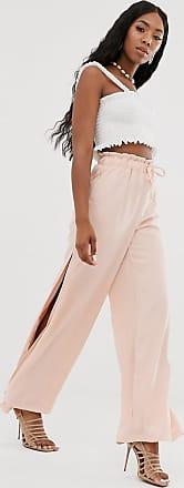 NA-KD Na-kd - Pastellrosafarbene Hose mit weitem Beinschnitt und seitlichen Schlitzen
