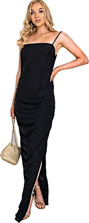 Ikrush Tia Slinky Side Split Maxi Dress Black UK 6