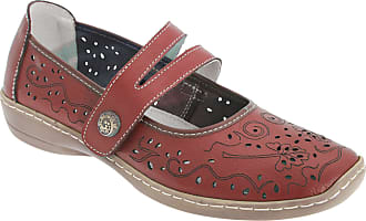 Boulevard Womens/Ladies Touch Fastening Perforated Bar Casual Leather Shoes (5 UK) (Red)