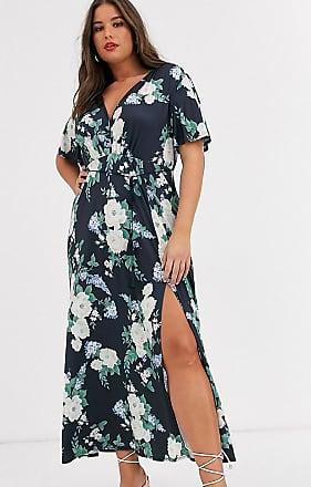 Asos Curve ASOS DESIGN Curve floral flutter sleeve maxi dress with tassle belt-Multi
