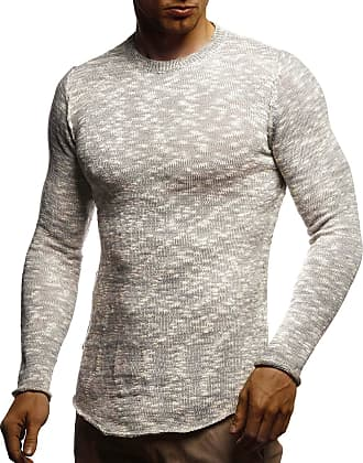 LEIF NELSON Mens Pullover Knit Sweater Chunky Knit Crew Neck LN-20750 Grey Medium