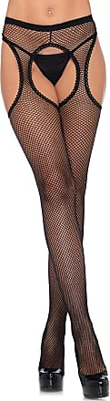 Fiore Fishnet Suspender Tights - Available in Black, White, Red or Tan (Medium, Red)