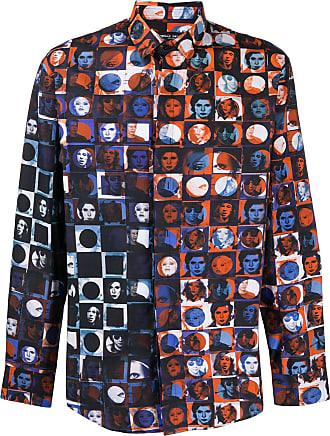 Frankie Morello Camisa de algodão com estampa gráfica - Azul