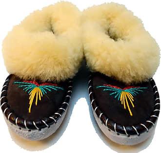 Mahala Handmade Sheepskin Slippers - UK 6 - Black/Yellow