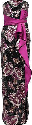 Marchesa Marchesa Notte Woman Strapless Bow-embellished Sequined Crepe Gown Magenta Size 4