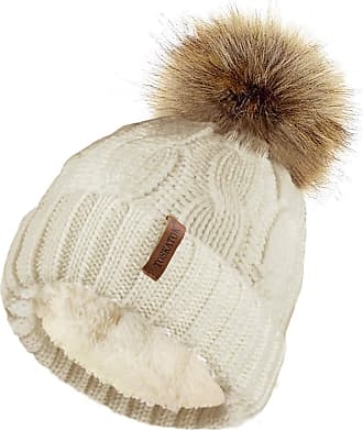 TOSKATOK Ladies Chunky Soft Cable Knit Hat with Cosy Fleece Liner and Detachable Faux Fur Pompom