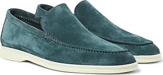 Loro Piana Summer Walk Suede Loafers - Light blue