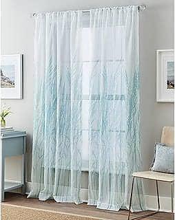 CHF Trellis Irongate Grommet Curtain Panel 50 x 84 inch Aqua