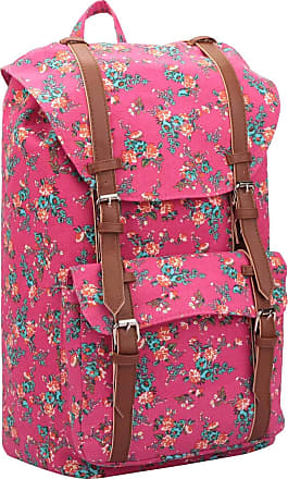 Quenchy London Canvas Backpack Casual Daypack for Girls and Women, Medium School Size A4 Bag 45cm x30x9 25 Litre QL916 (Pink Flower)
