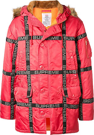 SUPREME logo tape parka coat - Red