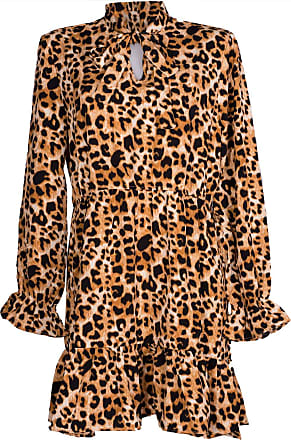 styleBREAKER Women Long-Sleeved Minidress with Leopard Animal Print Pattern, V-Cut and Bow, Ruffles, Loose-Fitting Dress, Dress 08010060, Color:Brown-Beige-Black,