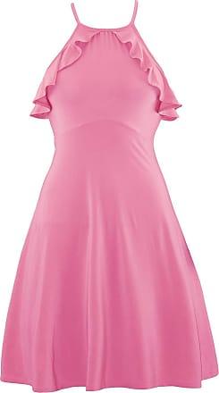 Be Jealous Womens Ladies Halter Neck Peplum Frill Strappy Sleeveless Skater Swing Mini Dress UK Plus Size 8-20 (Medium (UK 10), Rose)