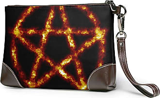 GLGFashion Womens Leather Wristlet Clutch Wallet Fire Evil Symbol Storage Purse With Strap Zipper Pouch
