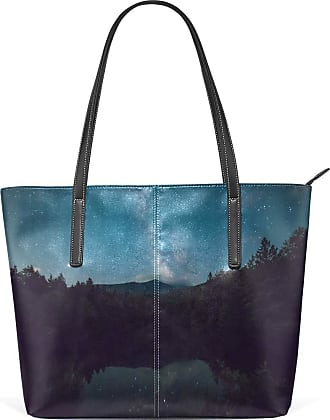 NaiiaN Light Weight Strap Handbags for Women Girls Ladies Student Purse Shopping Leather Night Starry Sky Lake Mountain Scenery Shoulder Bags Tote Bag Lighth