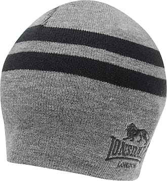 Lonsdale Mens 2 Stripe Hat Beanie Knitted Charcoal Mens