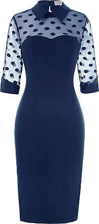 Belle Poque Fifities Style Women Party Tea Talk Polka Dots Patchwork Pencil Dresses Navy Blue(270-2) X-Large