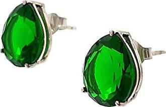 Boreale Joias Brinco Prata 925 Gota Grande Zircônia Cor Verde Esmeralda