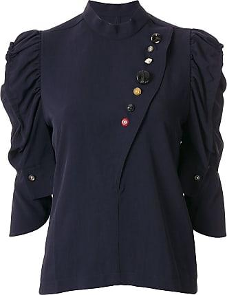 Toga Archives Blusa com babados nas mangas e botões contrastantes - Azul