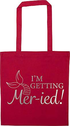 Flox Creative Red Tote Bag Im Getting Mer-ied! Metallic Silver Mermaid Pun