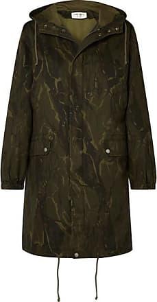Saint Laurent Camouflage-print Cotton-blend Gabardine Parka - Army green