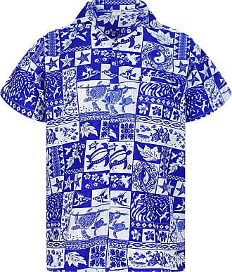 V.H.O. Funky Hawaiian Shirt, Puzzle, Blue, 4XL
