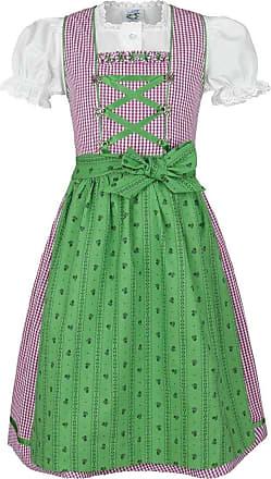 Green Isar-Trachten Girls Dirndl Green Berry with Blouse