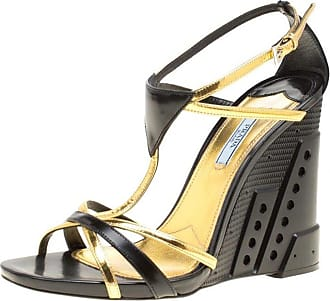 8f70f28ea77d Prada Black gold Leather Retro Futuristic Ankle Strap Geometric Wedge  Sandals Si