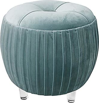 New Pacific Direct 1600022-187 Helena Velvet Small Tufted Acrylic Round Ottoman Ottomans & Cubes, Chamoise Gray