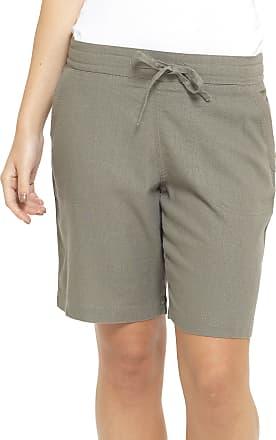Tom Franks Ladies Linen Blend Pull On Ribbed Waist Shorts Khaki Green 18