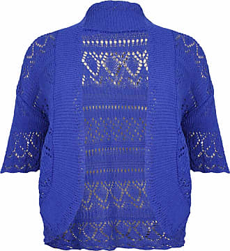 Purple Hanger Womens New Crochet Front Open Ladies Short Sleeve Knitted Bolero Cropped Cardigan Shrug Top Plus Size Royal Blue Size 14