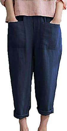 Hellomiko Womens Harem Shorts Linen Cotton 3/4 Trousers Cropped Pants Elastic Waist Casual Sports Pants Plus Size S-5XL Blue
