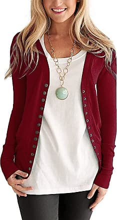 Saoye Fashion Ladies Cardigan Slim Fit Festival Daily Coat Tops Long Sleeve Feast Clothing V-Neck Solid Color Spring Summer Girls Cozy Basic Tops (Color : WineRed,